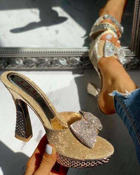 Studded Bowknot Platform Chunky Heeled Sandals