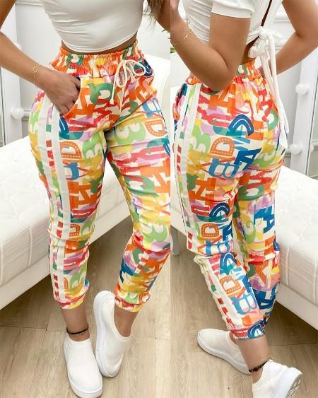 Colorful Letter Print Drawstring Elastic Waist Pants