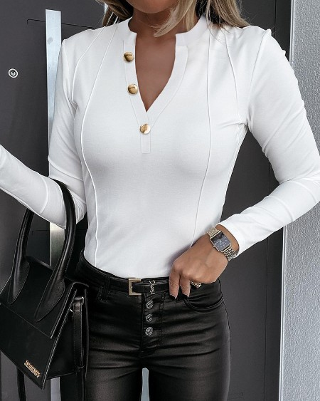 Contrast Stitch Button Decor Long Sleeve Skinny Top