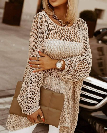Solid Open Knit Sheer Sweater