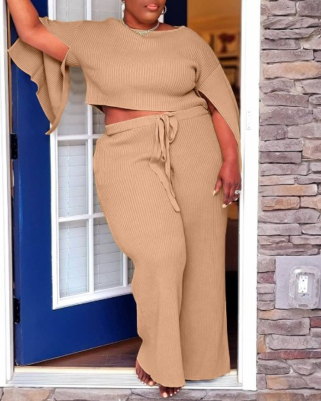 Plus Size Ribbed Split Sleeve Crop Top & Drawstring Pocket Pants Set