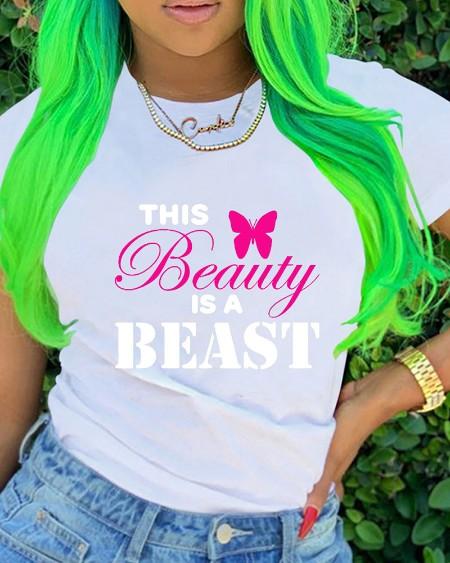 Butterfly & Letter Print Short Sleeve T-shirt