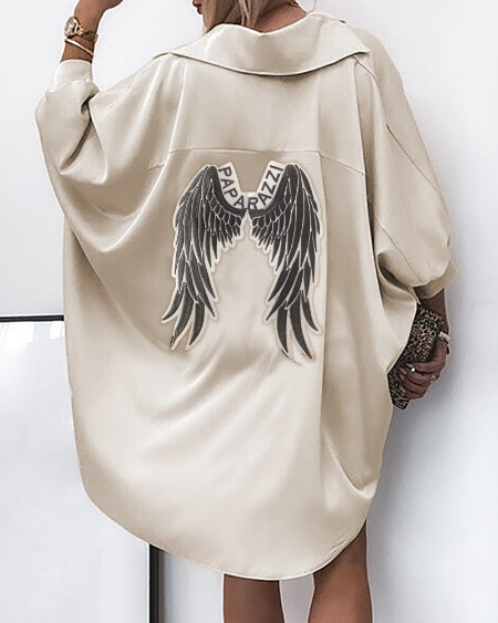 Wings Letter Pattern Satin Dip Hem Shirt