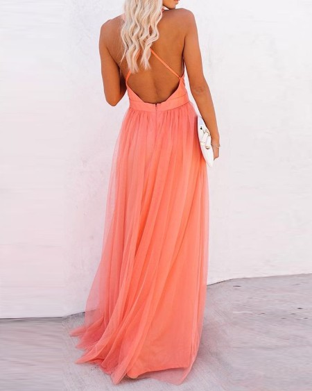 Crisscross Backless Mesh Patch Party Dress