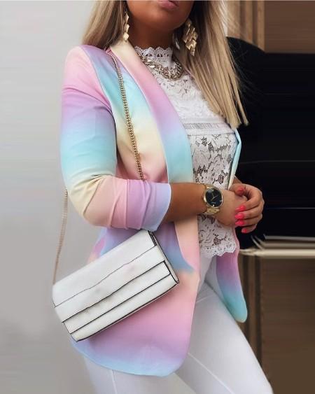 Ombre Colorblock Long Sleeve Blazer Coat