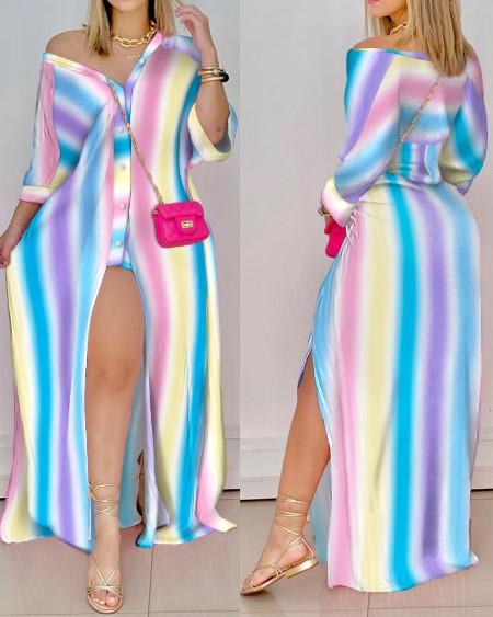 Ombre Striped Button Up High Slit Shirt Dress