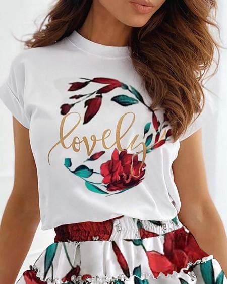Letter Floral Print Top & Layered Ruffles Skirt Set