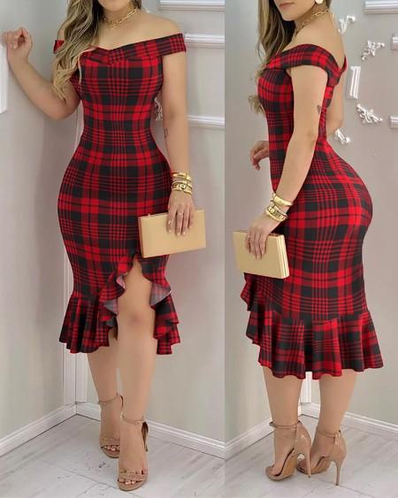 Plaid Off Shoulder Ruffle Hem Slit Dress