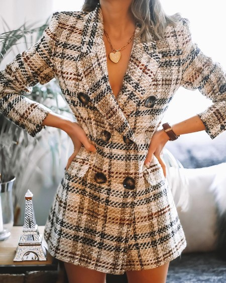 Tweed Plaid Pattern Colorblock Double Breasted Blazer Dress