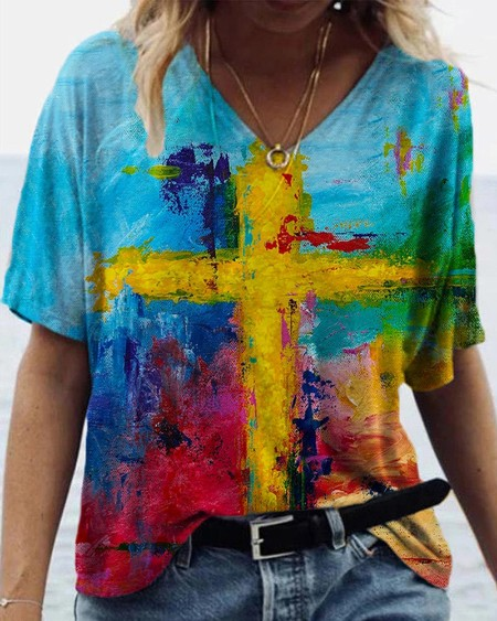 Cross Pattern Print Colorblock V-Neck T-shirt