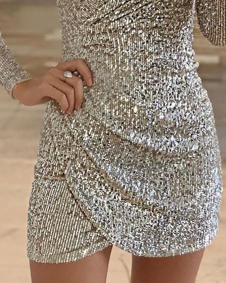 Surplice Wrap Ruched Sequins Bodycon Dress