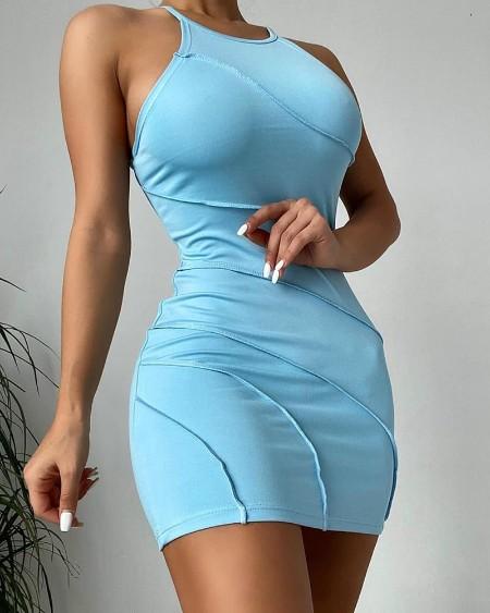 Contrast Piping Sleeveless Bodycon Dress