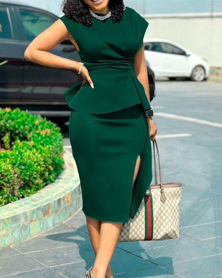 Ruched Plus Size Gathered Waist Split Thigh Work Dress