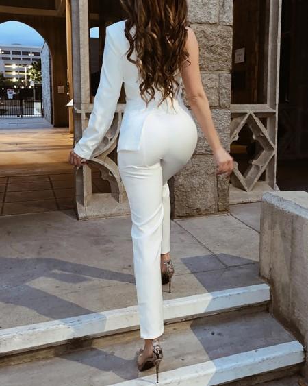 Irregular One Shoulder Plain Blazer Jumpsuit