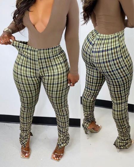 Plaid Print Split Hem Stacked Skinny Pants