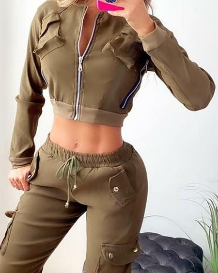Zipper Pocket Design Long Sleeve Crop Cargo Jacket