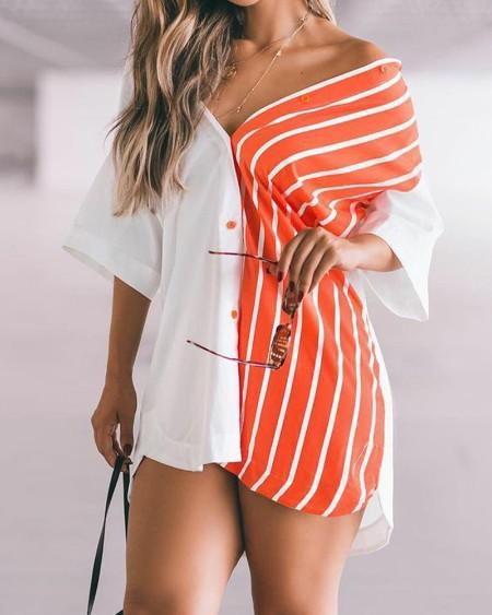 Striped Colorblock Button Front Shirt Dress