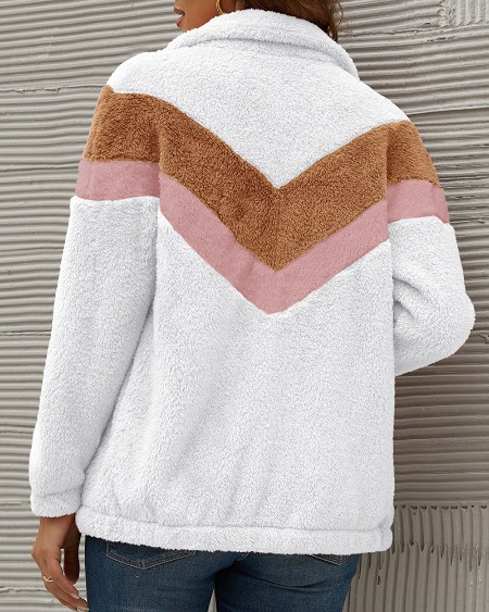 High Neck Colorblock Zipper Design Teddy Coat