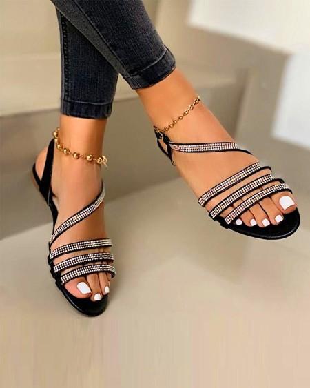 Embellished Strappy Flat Sandals