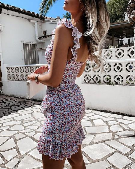 Floral Print Frill Hem Tie Front Dress