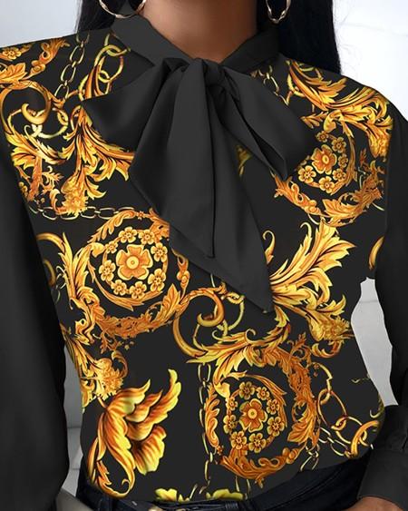 Chiffon Chain Floral Print Tie Neck Lantern Sleeve Top
