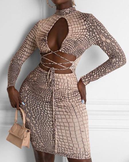 Colorblock Criss Cross Lace Up Cutout Bodycon Dress