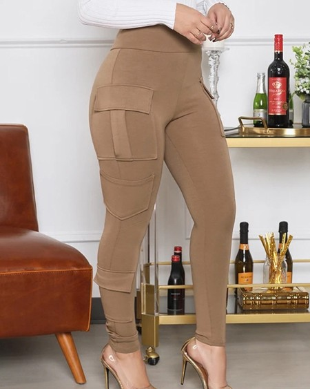 High Waist Flap Pocket Skinny Cargo Pants