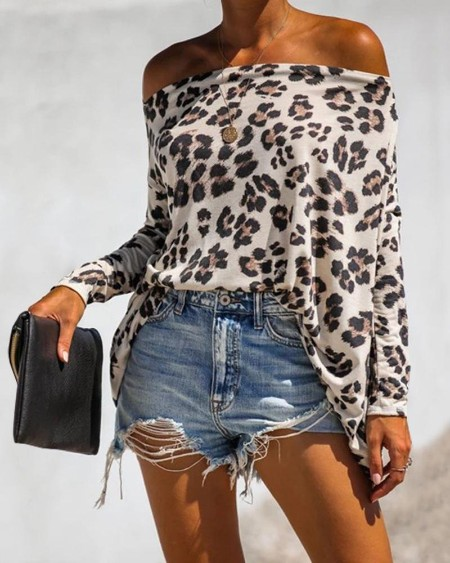 Off Shoulder Cheetah Print Long Sleeve Top