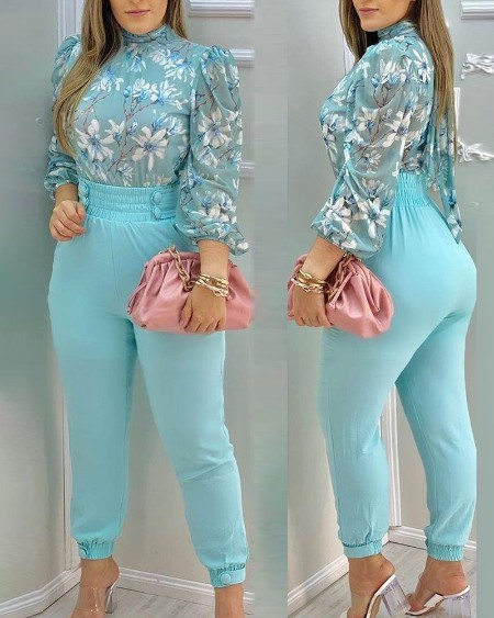 Floral Print Long Sleeve Blouse With Pants Suit Sets