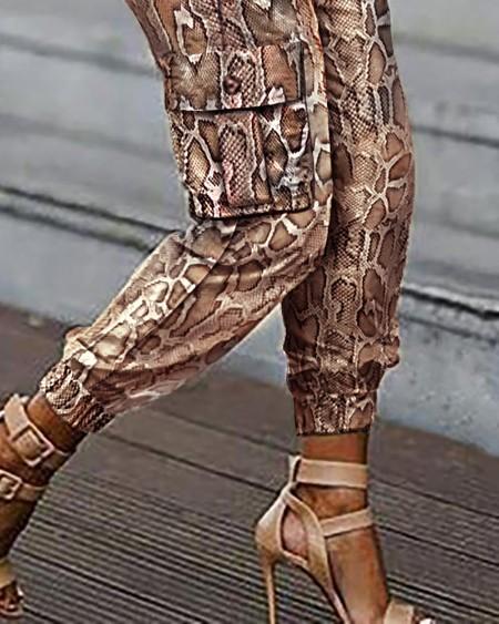 Snakeskin Pockets Design Casual Cargo Pants
