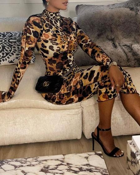 Cheetah Print Long Sleeve Skinny Dress