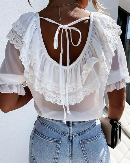 Lace Trim Backless Half Sleeve Top