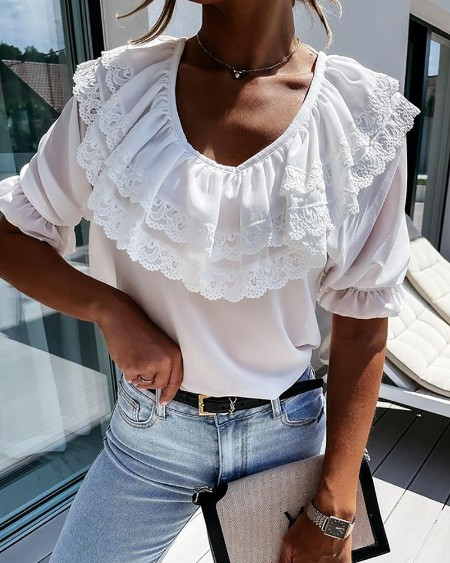 Lace Trim Backless Layered Ruffles Top
