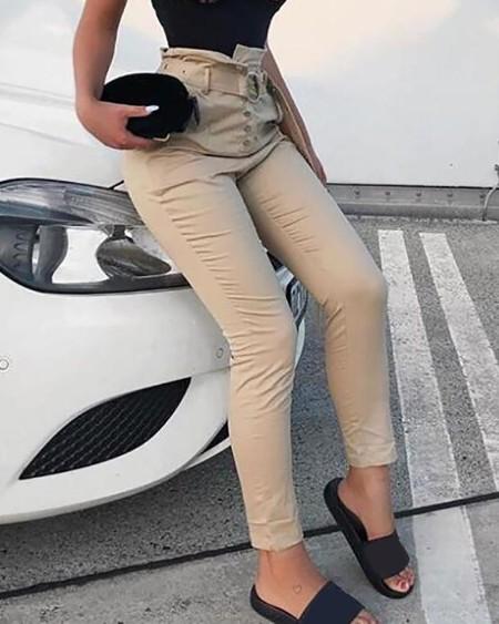 High Waist Buckle Design Plain Pants