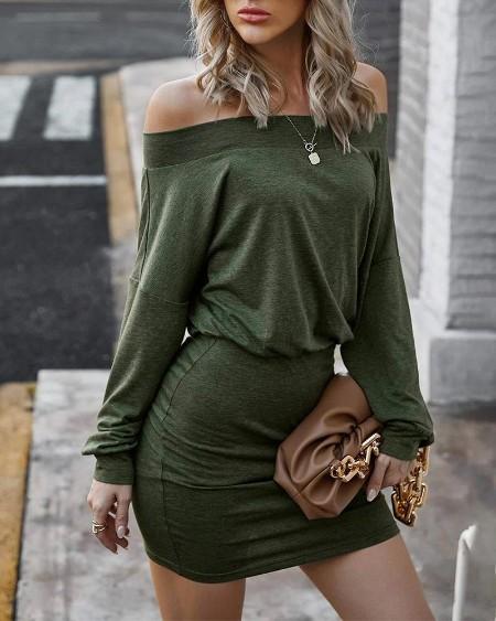 Long Sleeve Off Shoulder Skinny Dress
