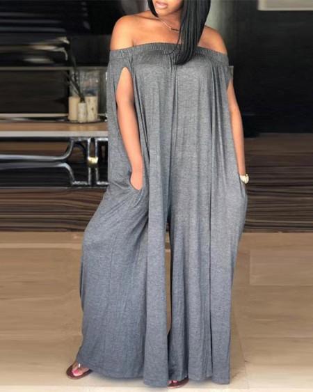 Off Shoulder Ruched Pocket Design Jumpsuit