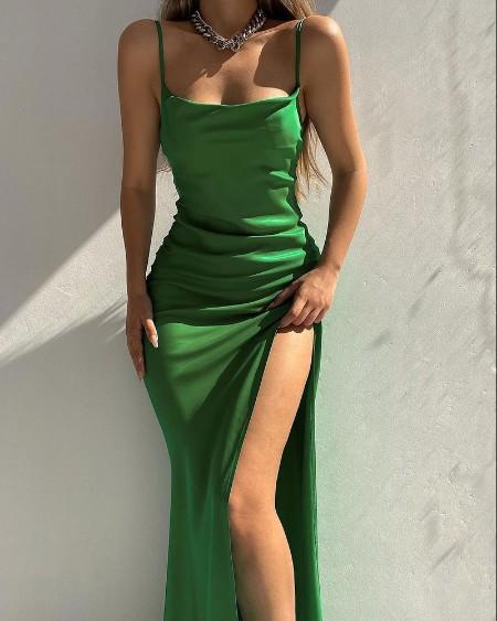 Satin Sleeveless Square Neck High Slit Maxi Dress