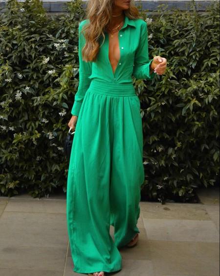 Long Sleeve Button Design Top & Wide Leg Pants Set