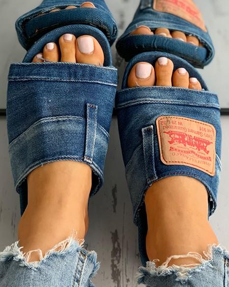 Letter Print Denim Patch Flat Sandals