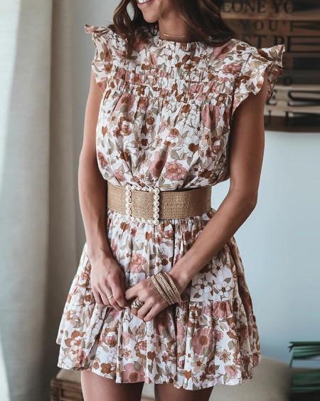 Ditsy Floral Print Sleeveless Ruffles Hem Casual Dress