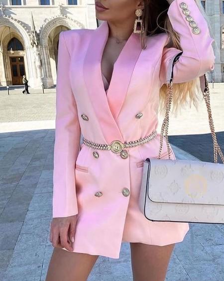 Long Sleeve Button Design Blazer Coat