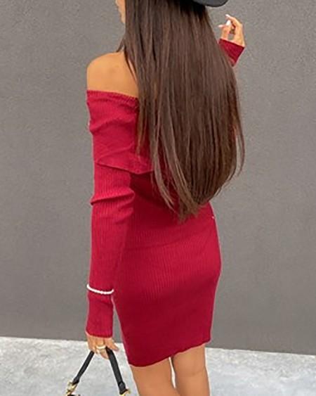 Button Decor Off Shoulder Bodycon Dress