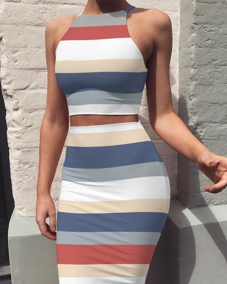 Round Neck Sleeveless Stripe Print Bodycon Tank Dress 2-piece Sets