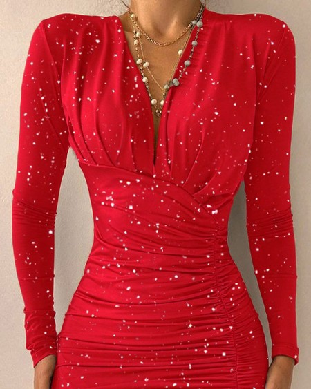 Glitter Asymmetrical Ruched Bodycon Party Dress