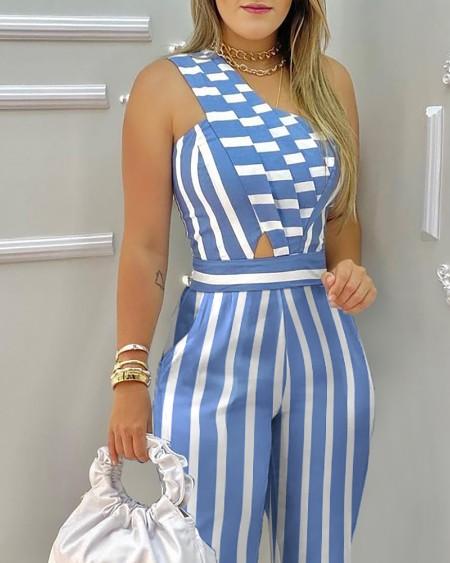 One Shoulder Striped Colorblock Casual Jumpsuit