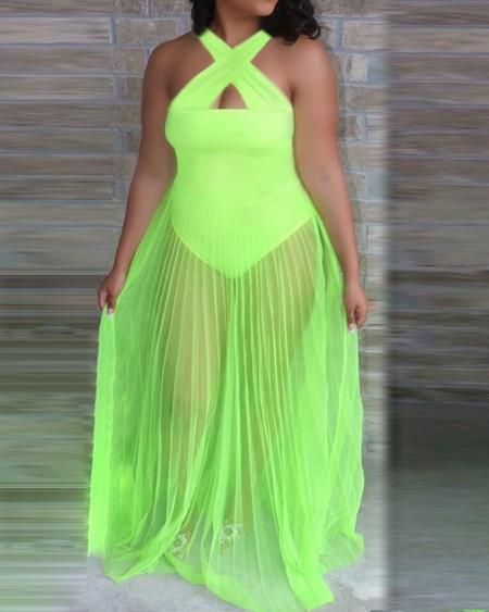 Halter Sheer Mesh Ruched Maxi Dress
