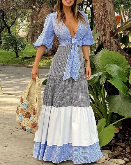 Lantern Sleeve Tie Front Colorblock Maxi Dress