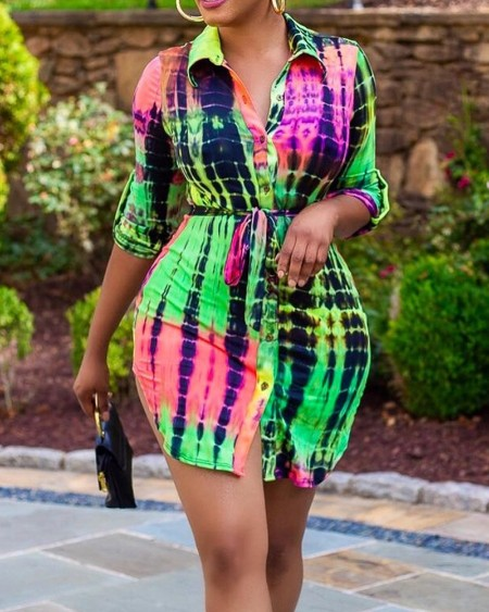 Tie Dye Ombre Button Front Shirt Dress
