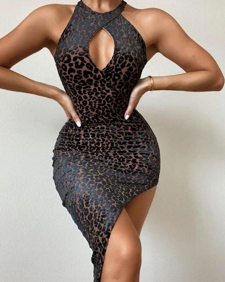 Leopard Print Cutout Split Thigh Bodycon Dress