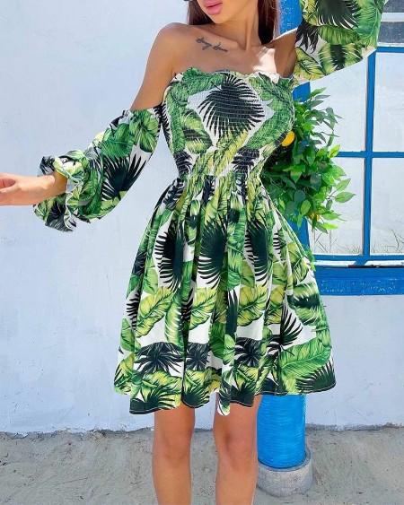 Tropical Off Shoulder Frill Hem Shirred Dress
